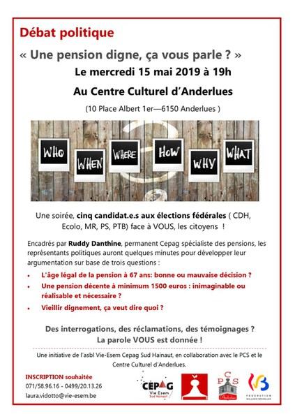 débat politique 15 mai 2019 Anderlues
